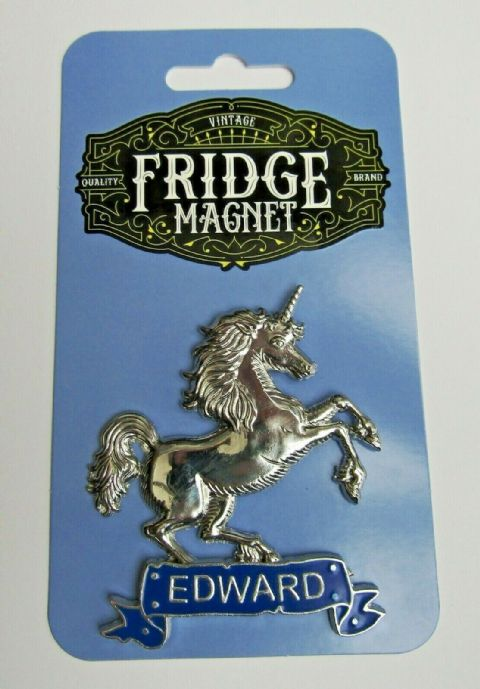 PERSONALISED STUNNING SILVER METAL UNICORN 3D FRIDGE MAGNET WITH ANY NAME/WORD